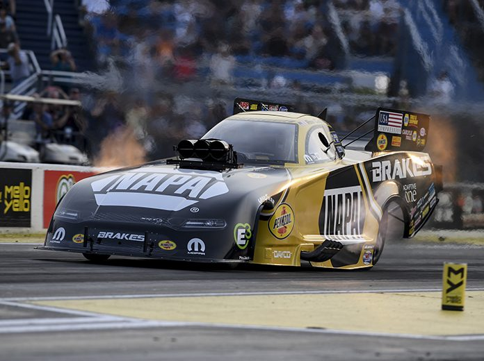 Ron Capps rolled to the top qualifying position at Route 66 Raceway on Friday. (NHRA Photo)