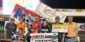 Brooke Tatnell in victory lane Friday at the Jackson Motorplex.