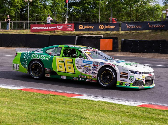 Lasse Sorensen came from the rear of the field to win Saturday's NASCAR Whelen Euro Series ELITE 2 feature at Brands Hatch. (NASCAR PHoto)