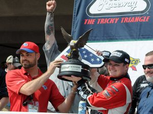 Cole Custer celebrates in victory lane after his win Saturday at Pocono Raceway. (Dave Moulthrop Photo)