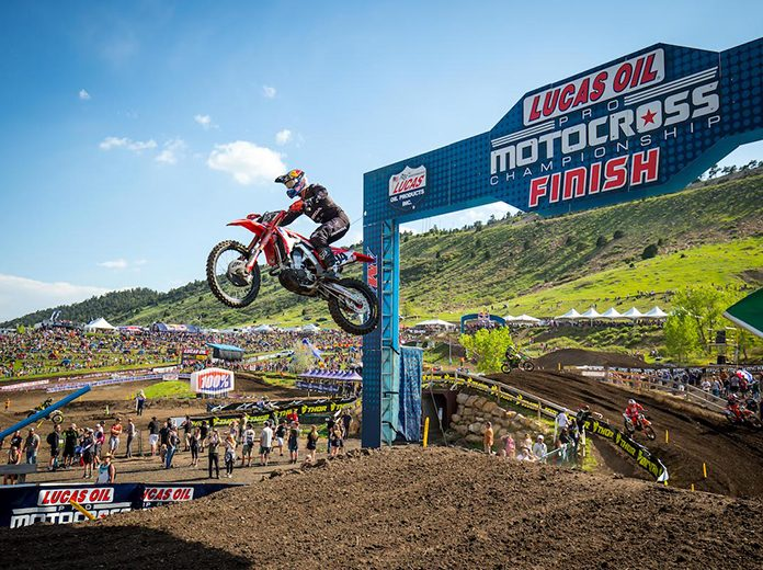 Ken Roczen soars through the air en route to victory in Saturday's True Value Thunder Valley National. (Rich Shepherd Photo)