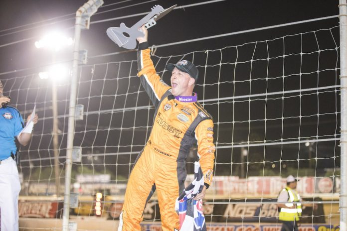 Shane Stewart celebrates winning Saturday's Music City Outlaw Nationals at the Nashville Fairgrounds Speedway. (Jeff Peck photo)