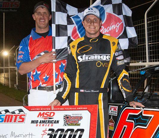 Hunter Marriott won Saturday's USMTS feature at Tri-State Speedway.