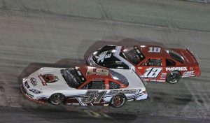 Stephen Nasse (51) battles Casey Roderick during the super late model feature Saturday at Bristol Motor Speedway. (Chad Wells Photo)