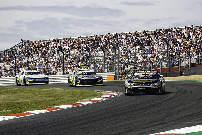 Frederic Gabillon leads en route to his victory in Sunday's NASCAR Whelen Euro Series ELITE 1 event at Brands Hatch. (NASCAR Photo)