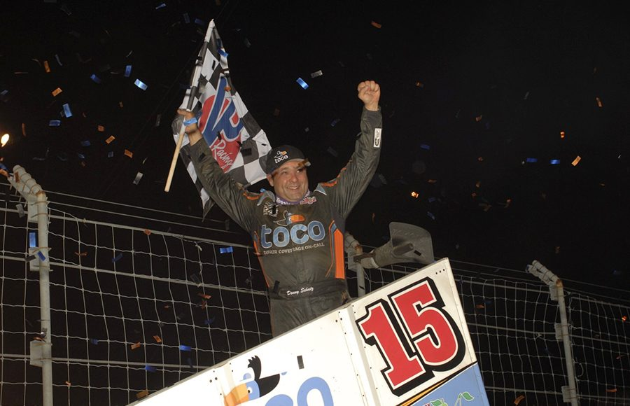Donny Schatz celebrates after winning Friday's World of Outlaws NOS Energy Drink Sprint Car Series feature at Fairgrounds Speedway Nashville. (Mark Funderburk Photo)