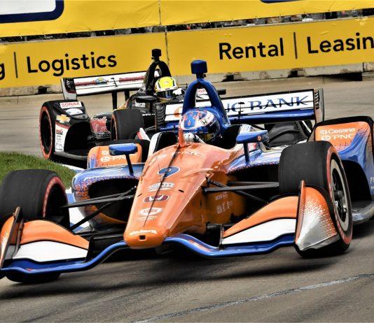 Scott Dixon en route to victory Sunday in Detroit. (Al Steinberg Photo)