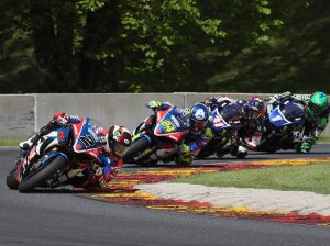 Josh Herrin (2) leads during Sunday's MotoAmerica Superbike race at Road America. (Brian J. Nelson Photo)
