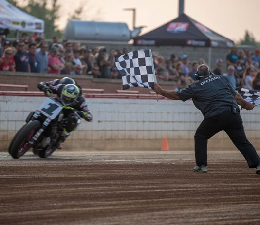 Jared Mees (1) edges Briar Bauman to win Sunday's Indian Motorcycle of Lexington Red Mile. (Scott Hunter/AFT Photo)
