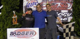 Davey Ray is joined by car owner Mark Ray, and chief mechanic Robbie Ray after winning Sunday Night's Zimbrick Chevrolet of Sun Prairie Badger Midget Racing Series feature at Angell Park Speedway