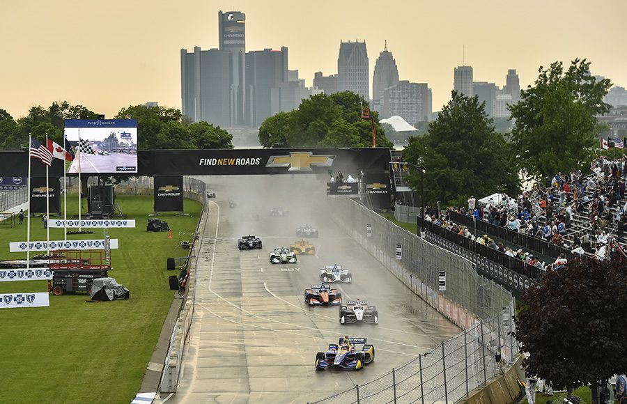 The NTT IndyCar Series takes the green flag to start Saturday's event at Belle Isle Park. (IndyCar Photo)