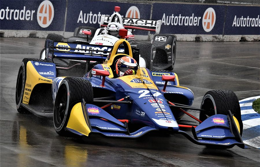 Alexander Rossi (27) leads Josef Newgarden during Saturday's NTT IndyCar Series event at Belle Isle Park. (Al Steinberg Photo)