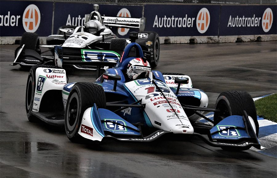 Graham Rahal (15) races ahead of Simon Pagenaud during Saturday's NTT IndyCar Series event at Belle Isle Park. (Al Steinberg Photo)