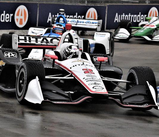 Josef Newgarden (2) leads Felix Rosenqvist during Saturday's NTT IndyCar Series event at Belle Isle Park. (Al Steinberg Photo)