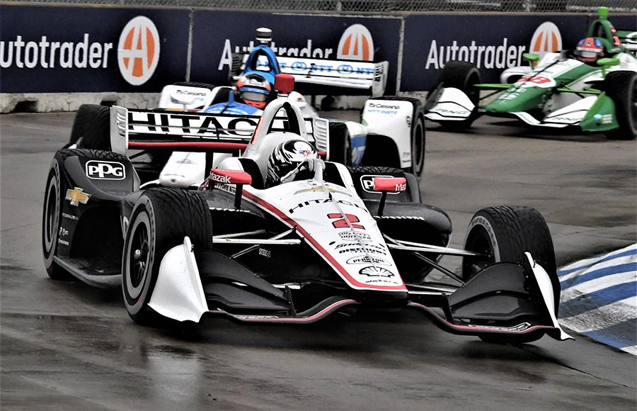 Josef Newgarden (2) leads Felix Rosenqvist during Saturday's NTT IndyCar Series event at Belle Isle Park. (Al Steinberg Photo)