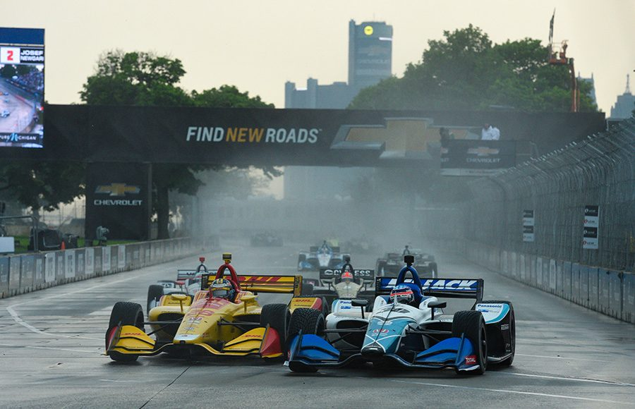Ryan Hunter-Reay (28) races alongside Takuma Sato during Saturday's NTT IndyCar Series event at Belle Isle Park. (IndyCar Photo)