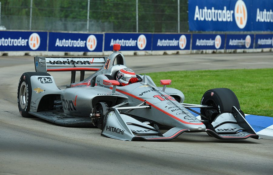 Will Power limps his car back to the pits after the right-front tire came off during Saturday's NTT IndyCar Series event at Belle Isle Park. (IndyCar Photo)