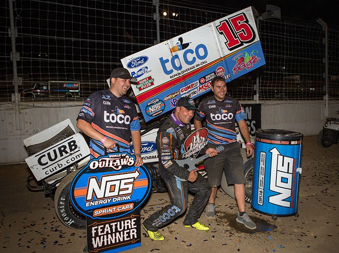 Donny Schatz earned his third World of Outlaws NOS Energy Drink Sprint Car Series victory of the season on Friday at Fairgrounds Speedway Nashville. (Dallas Breeze Photo)