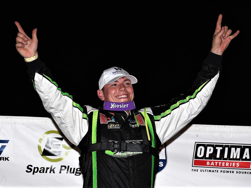 Tyler Erb in victory lane (Jim Denhamer Photo)