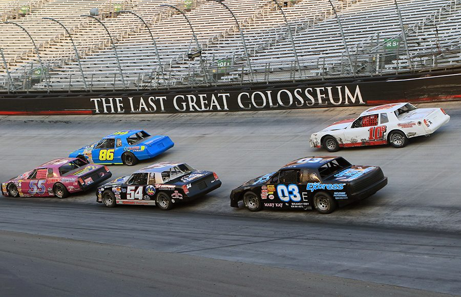 Drivers jockey for position Saturday during the Short Track U.S. Nationals at Bristol Motor Speedway. (Chad Wells Photo)