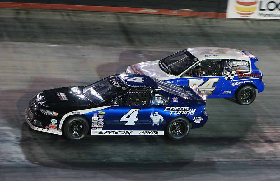 Drivers battle for position during the Compacts portion of the Short Track U.S. Nationals Saturday at Bristol Motor Speedway. (Chad Wells Photo)