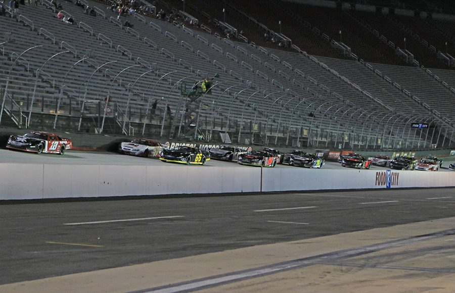 Super late models take the green flag to start their portion fo the Short Track U.S. Nationals at Bristol Motor Speedway on Saturday. (Chad Wells Photo)