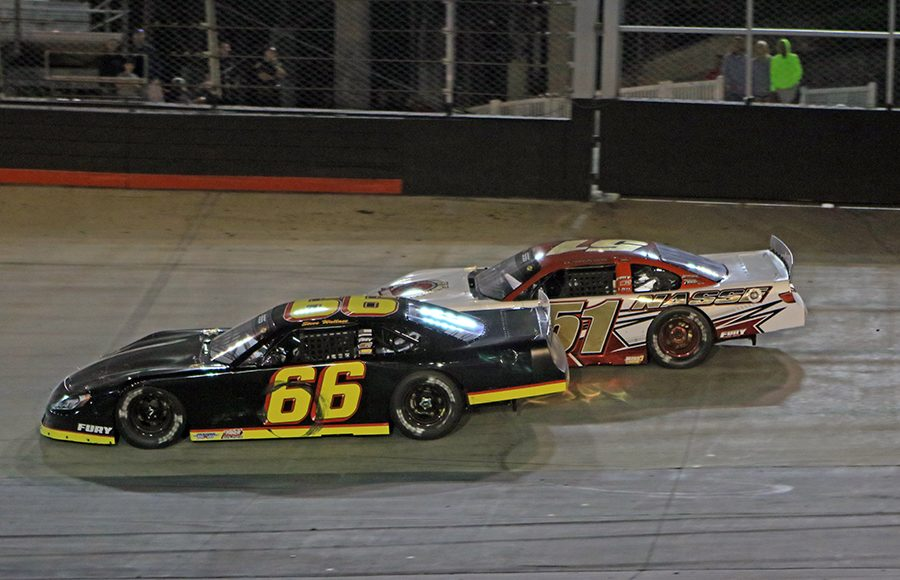 Steven Wallace (66) battles Stephen Nasse during the super late model portion of the Short Track U.S. Nationals Saturday at Bristol Motor Speedway. (Chad Wells Photo)