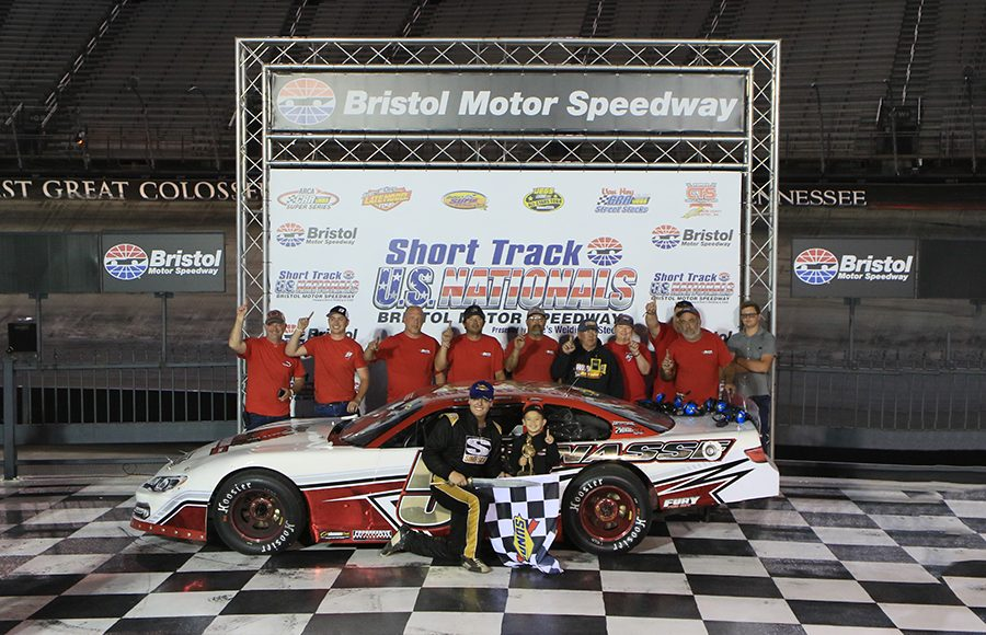 Stephen Nasse poses in victory lane after winning the super late model portion of the Short Track U.S. Nationals at Bristol Motor Speedway. (Chad Wells Photo)
