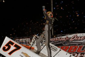 Kyle Larson celebrates in victory lane at Fairbury (Ill.) American Legion Speedway. (Mark Funderburk photo)