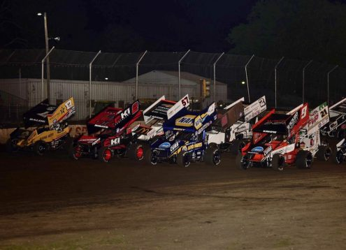 Tuesday night's four-wide parade lap at Fairbury American Legion Speedway featured James McFadden (9), Brad Sweet (49), Kerry Madsen (2) and Bill Balog. (Mark Funderburk photo)