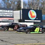 Rich Bickle Jr. (45) battles Skylar Holzhausen during a recent event at Dells Raceway Park. (Doug Hornickel Photo)