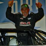 Darrell Lanigan in victory lane at Eldora Speedway. (Jim DenHamer photo)