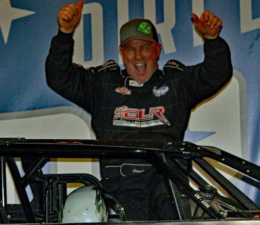 Darrell Lanigan in victory lane at Eldora Speedway. (Jim DenHamer photo)