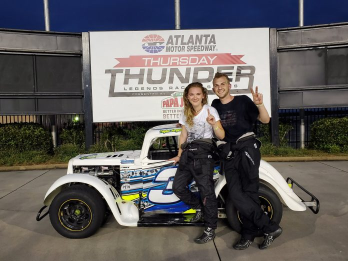 Brianna Freeman in victory lane at Atlanta Motor Speedway. (AMS photo)