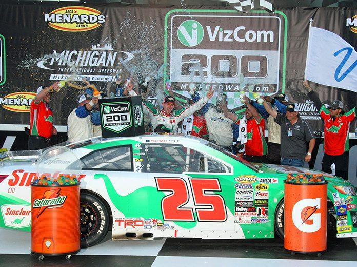 Michael Self celebrates in victory lane after winning Friday's ARCA Menards Series race at Michigan Int'l Speedway. (Todd Ridgeway Photo)