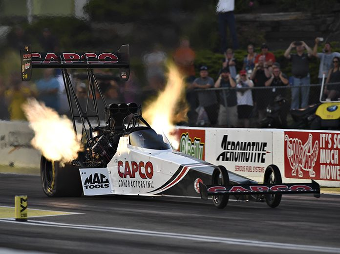 Steve Torrence topped the qualifying charts in Top Fuel Friday at Heartland Motorsports Park. (NHRA Photo)