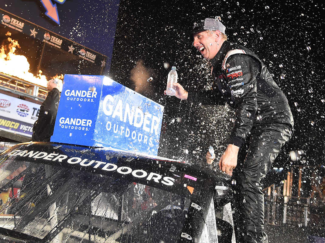 Greg Biffle celebrates his victory in Friday's NASCAR Gander Outdoors Truck Series race at Texas Motor Speedway. (Toyota Photo)