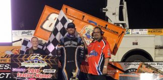 Jack Dover in victory lane on Friday at the Jackson Motorplex.