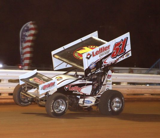 Freddie Rahmer, shown earlier this season won Saturday night at Lincoln Speedway. (Dan Demarco photo)