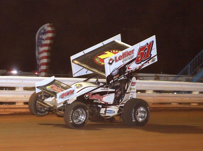 Freddie Rahmer, shown earlier this season won Saturday night at Lincoln Speedway. (Dan Demarco photo)