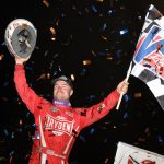 Logan Schuchart in victory lane at River Cities Speedway. (DB3 photo)