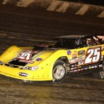 Shane Clanton en route to victory Friday night at Eldora Speedway. (Paul Arch photo)