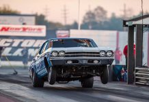 Thomas Fletcher pops a wheelie on Friday at Lancaster Dragway @ New York International Raceway Park.