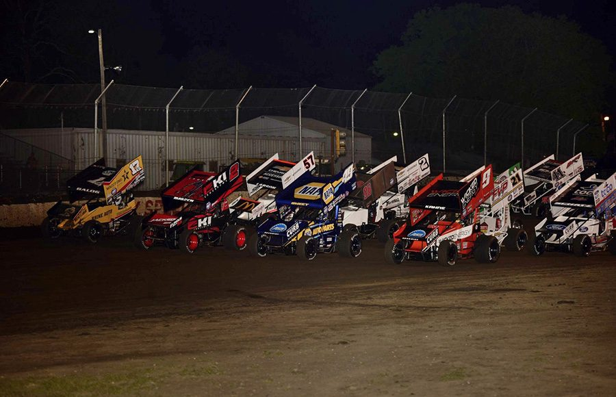 The field for Tuesday's World of Outlaws NOS Energy Drink Sprint Car Series event prepares to go racing at Fairbury Speedway. (Mark Funderburk Photo)