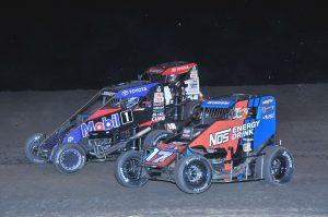 Chris Windom (17), Logan Seavey (67) and Tucker Klaasmeyer race three-wide during Wednesday's Indiana Midget Week event at Gas City I-69 Speedway. (Randy Crist Photo)