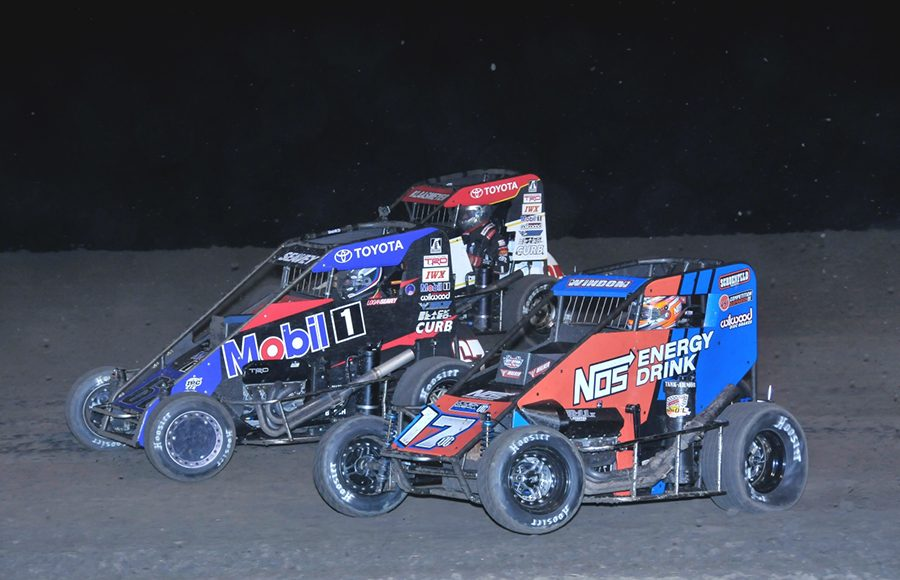 Chris Windom (17), Logan Seavey (67) and Tucker Klaasmeyer race three-wide during Wednesday's Indiana Midget Week event at Gas City I-69 Speedway. (Randy Crist Photo)