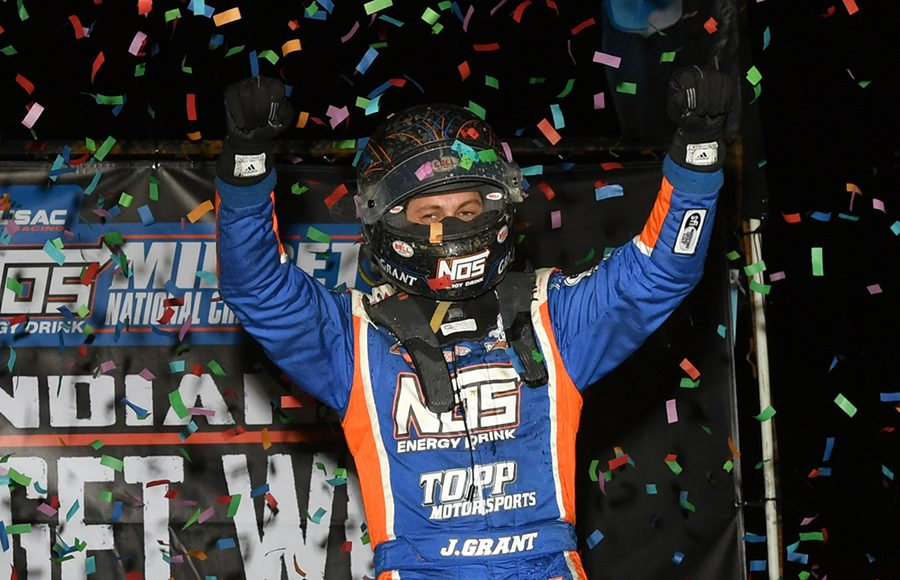 Justin Grant celebrates after winning Wednesday's Indiana Midget Week feature at Gas City I-69 Speedway. (Mike Campbell Photo)