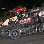 Kevin Thomas Jr. (5) battles alongside Tucker Klaasmeyer during Wednesday's Indiana Midget Week event at Gas City I-69 Speedway. (Jim Denhamer Photo)