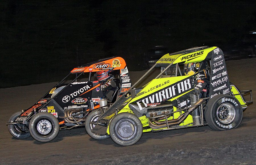 Michael Pickens (1) battles C.J. Leary during Wednesday's Indiana Midget Week event at Gas City I-69 Speedway. (Jim Denhamer Photo)