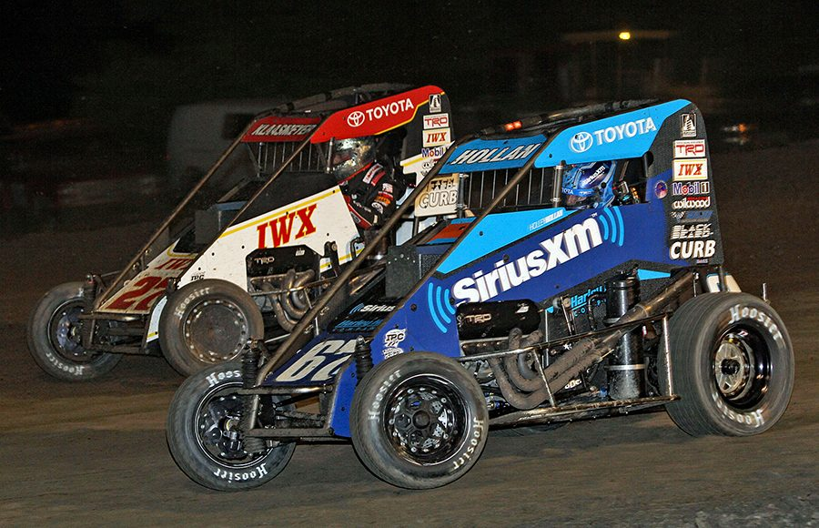 Holley Hollan (67) battles Tucker Klaasmeyer during Wednesday's Indiana Midget Week event at Gas City I-69 Speedway. (Jim Denhamer Photo)